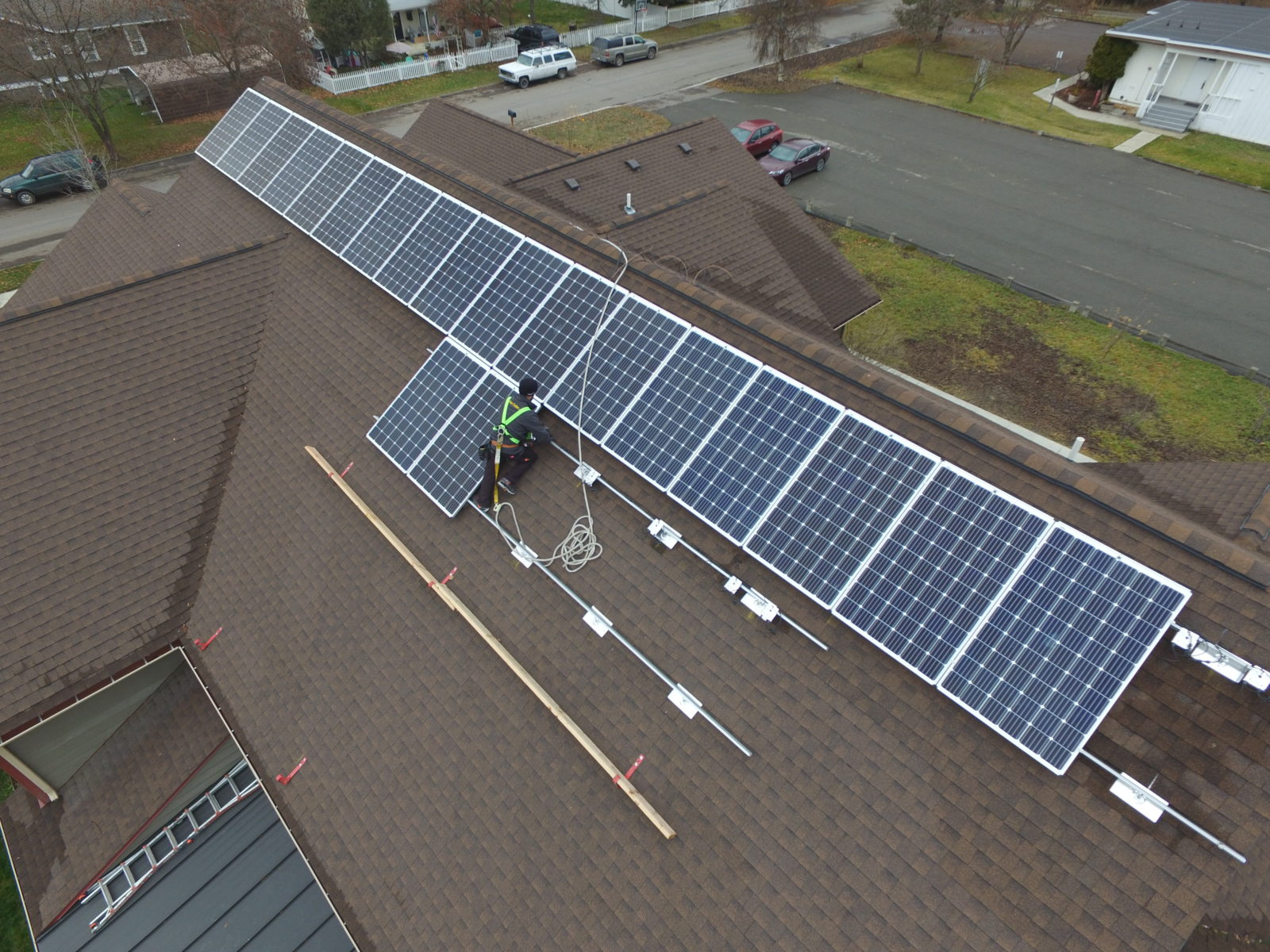 Solar panels being installed at Flathead Youth Home.