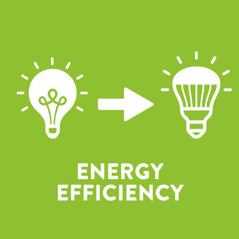 Energy Efficiency means finding more efficient ways to use energy (leaving the lights on to enjoy, but replacing old bulbs with efficient LEDs).