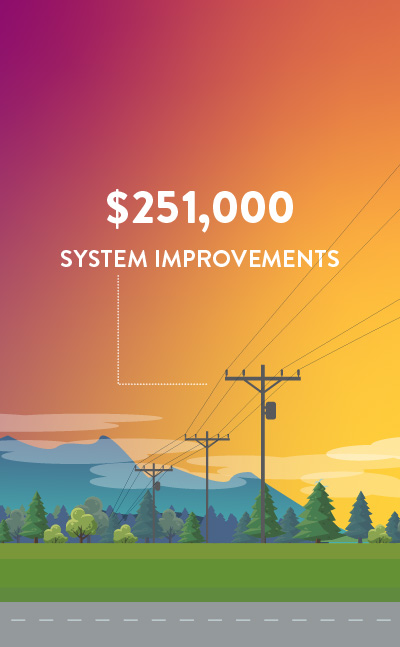 $251,000 in System Improvements (such as reconductoring electrical wire to prevent energy loss and other efficiency efforts)