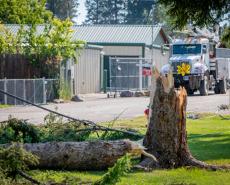 FEC crews restore power after a microburst in Lakeside Montana.
