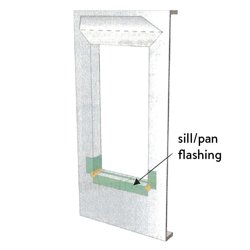 Window diagram showing sill/pan flashing