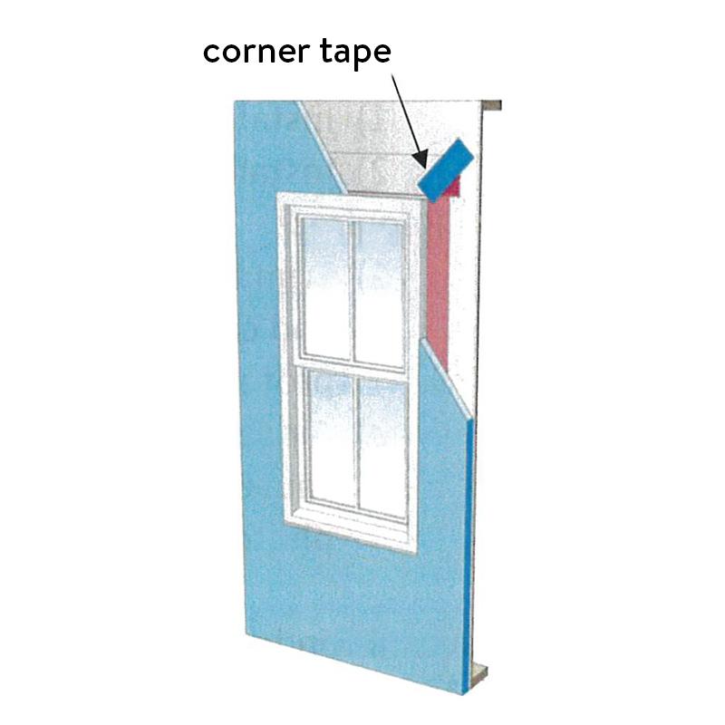 Window diagram showing corner tape
